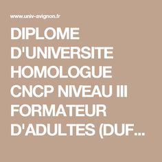 DIPLOME D'UNIVERSITE HOMOLOGUE CNCP NIVEAU III FORMATEUR D'ADULTES (DUFA) session 1