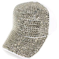Summer Ready Totally Bling out White Rhinestone Cap Hat White Caps 0caa8e4681a