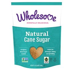 Wholesome! Natural Cane Sugar |  | Fair-trade, non-gmo project verified, gluten-free, vegan, kosher | #canesugar #rawsugar #vegansugar #fairtradesugar #nongmosugar