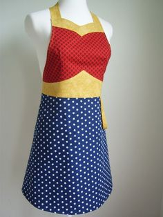 Wonder Woman apron, every woman should have one of these.     Whoa...I came across this pin while I was actually watching Wonder Woman reruns on TV. Spooky!!!