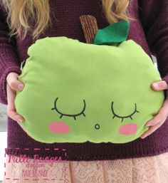 Sleeping Apples green or red pillow. kid bedroom by MilleNuages, $20.00