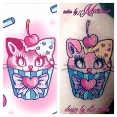 Cute cat cupcake tattoo so kawaii Samurio Samurio B Cupcake Tattoo Designs, Cupcake Tattoos, Body Art Tattoos, Cool Tattoos, Tatoos, Coffin Tattoo, Doe Tattoo, Kawaii Tattoo, Street Tattoo