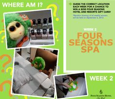 The Big Reveal Week 1: This week Maxine was at... THE FOUR SEASONS SPA! Do you want to increase your chances of winning a 250 Dollar Four Seasons Hotels and Resorts Gift Card? Simply click on the Pin and you will be linked to our contest page, where you can guess where Maxine is each week and be entered into our contest! Happy guessing! http://www.shout.lt/jzjJ