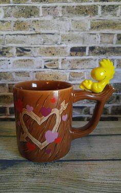 Vintage Peanuts Snoopy Woodstock Ceramic Coffee Mug Teleflora Hearts Nice