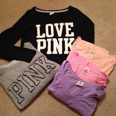 SALE Victoria's Secret Bundle  Super cute bundle of all authentic VS stuff :) Everything fits a size medium and is in excellent used condition with only natural wash wear. Black and salmon is size small, pink and grey is medium and purple is xs. Purple and salmon are long sleeve, pink is short and grey and black are identical pullovers. Will accept offers and sell separately !!:) Victoria's Secret Tops