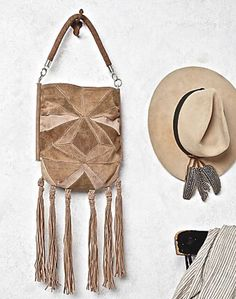 NWT Free People tan suede patched Sun Ray Crossbody Bag long fringe $128 #FreePeople #Crossbodyfringedbag