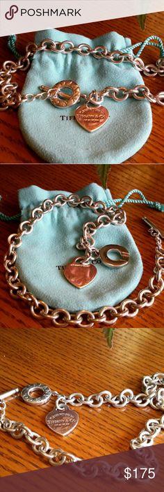 """Tiffany & Co. Return to Tiffany Heart Tag Toggle Tiffany & Co. sterling silver 925  Return to Tiffany Heart Tag Toggle Necklace 17 """" Tiffany & Co. Jewelry Necklaces"""