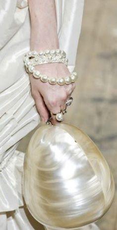 String Of Pearls, Pearl Cream, Shades Of White, My Precious, Elegant Woman, Black Print, Large Black, Pearl Earrings, Neutral Palette