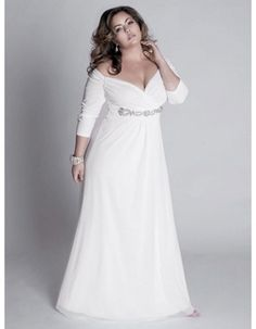 Elegant Off-The-Shoulder V-Neck 3/4 length Sleeves Floor Length Chiffon Plus Size Wedding Dresses/ Sexy Long Beach Bridal Gowns with Beaded Waist