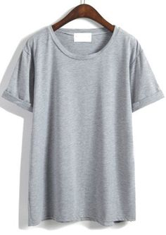 Cuffed Loose Grey T-shirt