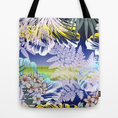 Fun in the Sun Tote Bag by Vikki Salmela on Society6, #new #tropical #Hawaiian #Aloha #rainforest #hibiscus #flower #ferns #plumarie #art on #tote #bags #pouches for #travel #books #shopping #gift #school