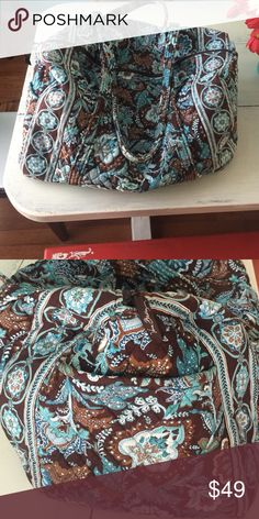 Vera Bradley duffle bag Brown and blue vera bradley duffle bag, great condition, side pocket, 2 straps, zip closure Vera Bradley Bags Travel Bags