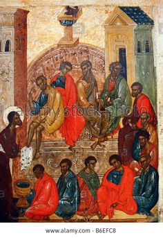 Download this stock image: Washing of feet, Russian Icon, religious art, saint, city museum Pskov, Russia - B6EFC8 from Alamy's library of millions of high resolution stock photos, illustrations and vectors.