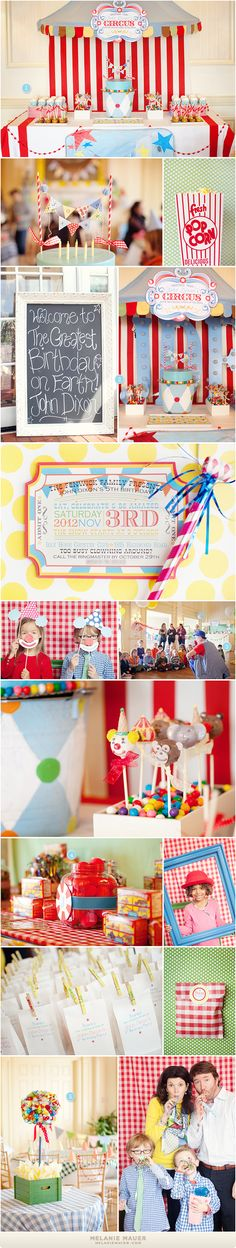 Circus Party: scalloped canopy + striped fabric from IKEA! I like the invitation Vintage Circus Party, Circus Carnival Party, Circus Theme Party, Carnival Birthday Parties, Circus Birthday, First Birthday Parties, Birthday Party Themes, Boy Birthday, Birthday Ideas