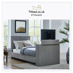 The Richmond has a choice of either Bluetooth or optical output for that true sound experience, so you can connect your devices and play your favourite music! 🎵 - Order online now! Tv Bed Frame, Cheap Tvs, Cosy Bed, Tv Beds, Large Tv, Home Warranty, Grey Bedding, Bed Storage, Bed Sizes