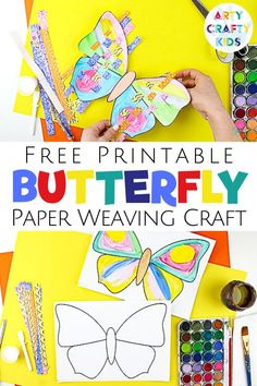 Woven Butterflies Craft for Kids, Spring Crafts For Kids, Paper Crafts For Kids, Easy Crafts For Kids, Craft Activities For Kids, Art For Kids, Bug Activities, Butterfly Kids, Butterfly Crafts, Printable Crafts