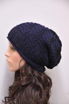 Hand knit hat, Chunky  Hat, Navy wool hat, Unisex hat. $38.00, via Etsy.