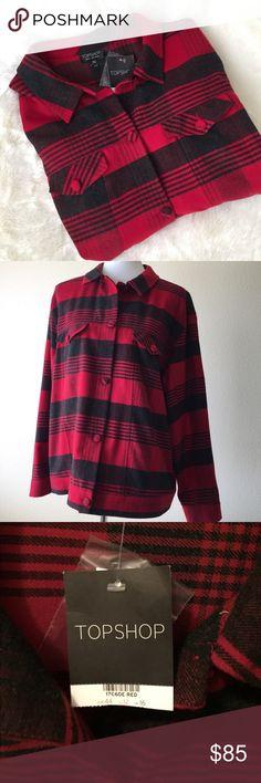 "TopShop Tartan Lumberjack Jacket/Shirt TopShop Tartan Lumberjack Jacket/Shirt🔸 🔸Size 12: 48"" bust 26"" length🔸59% polyester,  29% wool, 7% viscose, 5% polyamide, 1% elastane🔸front Pockets, Button down, cuffed Sleeve🔸No trades, Smoke Free Home💕 Topshop Jackets & Coats"