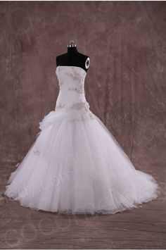 Glamour A-line Strapless Natural Train Tulle Ivory Sleeveless Wedding Dress with Appliques and Draped LWXT14079 - A-line Wedding Dresses - Wedding Dresses #weddingdress #cocomelody