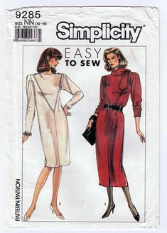 fe0ce8b8c861 Simplicity 9285 Sewing Pattern for Women's Straight Dress, Size 10-12-14-16  Vintage Uncut