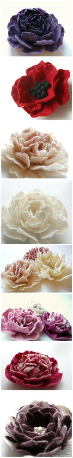 #森女手作工坊#羊毛做出来的花,效果就是... felt flowers