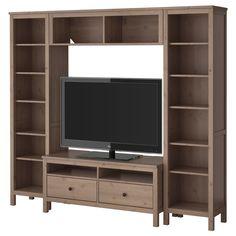 HEMNES TV storage combination - grey-brown - IKEA