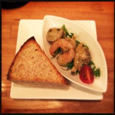 Home made bread and seafood appetiser