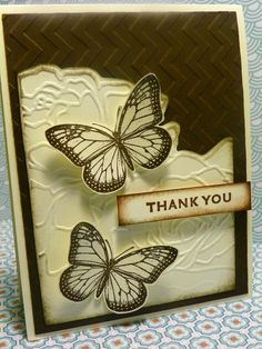 handmade card ... black and cream ... embossing folder roses ... like how the corner above the roses has been trimmed off ... stamped butterflies ... lovely card ... Stampin' Up!