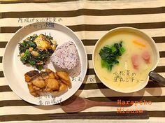 はらぺこ先生食べっぷり評価★★★  ▫︎ブリの竜田揚げ ▫︎小松菜と厚揚げのひじきサラダ ▫︎小松菜の豆乳シチュー ▫︎しそおむすび  最近おむすびの食べっぷりがよろしい娘。 ぷくぷくたくましいお肉がついてきた。晩ごはんの後は相撲勝負。 将来の夢は「おすもう」らしい。 こりゃ食費が心配やな - 105件のもぐもぐ - 晩ごはんでっせー by harapekomusume