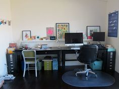 """Two desks next to each other...Why didn't I think of that?! + a """"gallery ledge"""""""