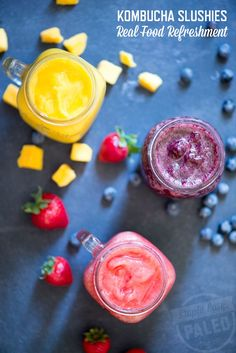 These Kombucha Slushie recipes will cool down even the hottest summer days! They are healthy, paleo, vegan, dairy free, gluten free. Click on the pin to see full recipe by @stupideasypaleo.