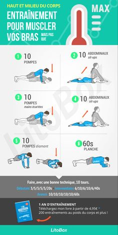 Strengthening your arms: increase your maximum number of pumps! Fitness Workouts, At Home Workouts, Bike Workouts, Swimming Workouts, Swimming Tips, Cycling Workout, Circuit Training, Street Workout, Sport Motivation