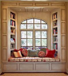 Love a beautiful window seat! Kravet Design Share - Ernesto Garcia Interior Design