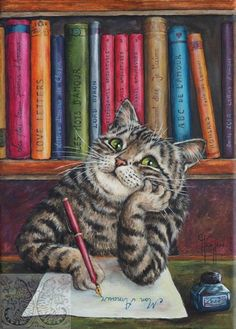 Books and Cats - Poetry and Ficton. The writing life is for me. I Love Cats, Crazy Cats, Cool Cats, Cat Drawing, Beautiful Cats, Cat Memes, Cat Art, Cats And Kittens, Funny Cats
