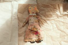 primitive vintage grungy fabric fox doll