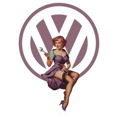 Volkswagen Pin-Up Wrenching Wanda (light purple) by Sarah Rulon Bugatti, Lamborghini, Volkswagen Group, Vw T1, Volkswagen Transporter, Cars Movie Characters, Van Vw, Vw Logo, Preppy Car Accessories