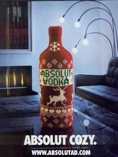 2001 Absolut Cozy vodka bottle in Christmas sweater photo vintage print ad Swedish Christmas, Christmas Ad, Christmas Sweaters, Xmas, Absolut Vodka, Vintage Prints, Vintage Photos, Best Ads, Winter Drinks