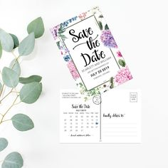 Printable Save The Date - Watercolor Floral Wedding Save The Date Card - Calligraphy Wedding Postcard - Hydrangea Wedding Set Printable PDF by OnionSisterCreative on Etsy Floral Wedding Save The Dates, Wedding Set, Save The Date Postcards, Save The Date Cards, Diy Wedding Inspiration, Wedding Postcard, Save The Date Templates, Minimal Wedding, Postcard Template