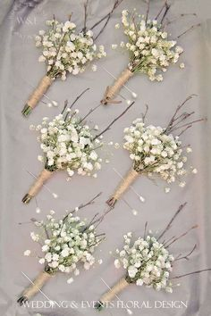 gypsophila baby's breath boutonniere - like the twigs and lightness of this style (not overloaded with baby's breath) Babys Breath Boutonniere, Boutonnieres, Babies Breath Bouquet, Babies Breath Wedding, Dream Wedding, Wedding Day, Wedding Events, Wedding Table, Wedding Vows