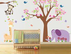 Nursery Wall Decal - With Giraffe, Birds, Owls, Elephant, Monkey, Butterflys - Baby - Vinyl Sticker on Etsy, $127.00