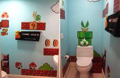 Nerdy bathrooms! World of Warcraft, Mario and Spiderman!