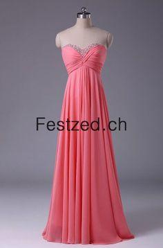 A-Linie Herzausschnitt Wassermelone Chiffon Abendkleider