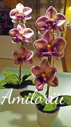 Orchid A pattern by CreativityClaudia Diy Crochet Toys, Free Crochet Bag, Crochet Fish, Crochet Leaves, Knitted Flowers, Freeform Crochet, Irish Crochet, Crochet Animals, Beaded Flowers