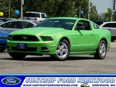 2013 Ford Mustang Coupe... Love the color green!