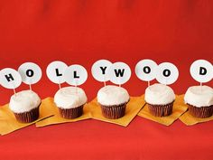 These little Hollywood sign cupcakes could be a fun way to go for your at home Oscar Night Party.