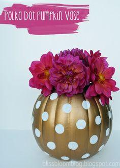 [Make] Polka Dot Pumpkin Vase via bliss bloom blog
