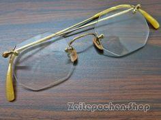 Filigrane Vintage  Brille mit eckigen Gläsern -seltenes Modell - Randlose Brille