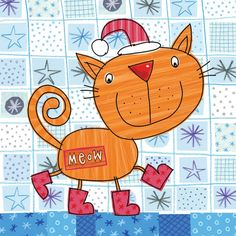 painted paper - cat, boots & ground- scrapbook paper