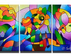 Grote abstracte schilderijen, originele Acryl schilderij, Extra grote kunst aan de muur, landschap schilderij, drieluik 36 x 72 inch, zomer droom