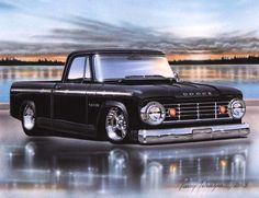 1966 67 Dodge D100 Sweptline Pickup Classic Truck Art Print 11x14